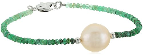 Honora Sterling Silver Natural Ming Freshwater Cultured Pearls with Emerald Ombre Faceted Graduation Bracelet, 7.5