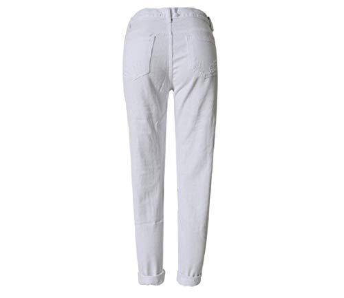 Cintura Sólidos Alta De Vaqueros Con Bolsillos Ropa Chic Pantalones Colores Blanco Agujero Ajustados Agujeros Mezclilla Mujer Delanteros On1t5Ydq