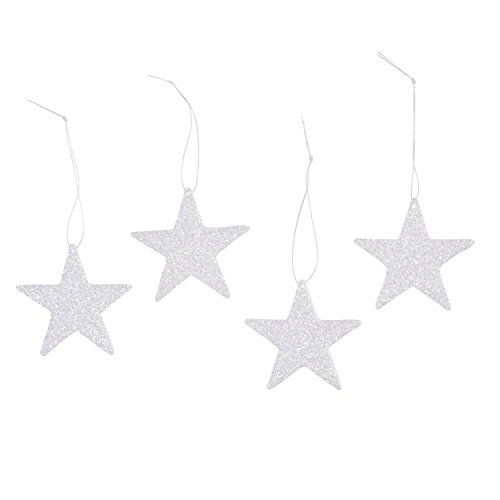 White Star Ornament (Darice 2469-39 12-Piece Flat Star Glitter Ornament, 2-Inch, White)