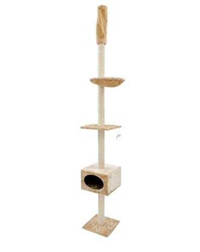 3 Level Space-Saver Celing High Cat Tree Includes Wall Bracket For Extra Stability. Fits Room Ceiling With A Ceiling Height Of 245cm to 260cm. Offers Lots Of Places To Play, Relax and Scratch