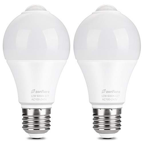 Dusk to Dawn LED Bulb, Zanflare 12W E27 Smart PIR Sensor LED Bulbs, Cold White 6000K, 850LM, Automatic LED Light Bulb for Front Door Porch Garage Basement Hallway Stairs (2 Pack)