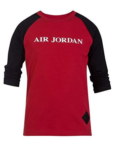 Jordan Nike Big Boys' Raglan Long Sleeves Cotton T-Shirt (Gym Red Air Jordan, Medium 10-12 Yrs)