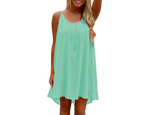 Female Sundress Tops Spaghetti Strap Back 2018 Summer Chiffon Beach Short Dress D0235,Green,M - Satin Caress Neck