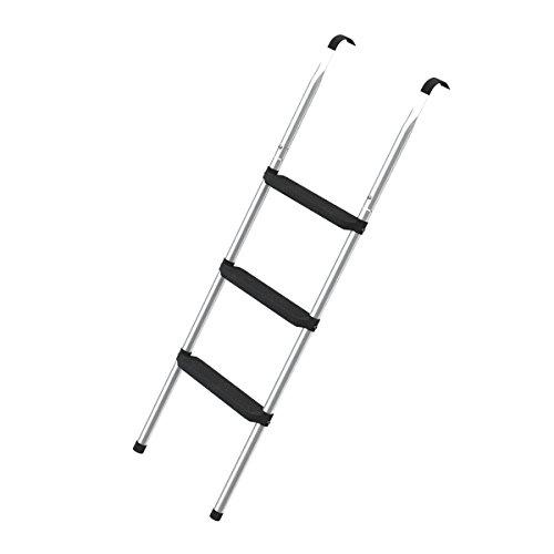 Ampel 24 Trampolin Leiter für große Trampoline | 3 breite Stufen | praktischer Aufstieg auf Ihr Gartentrampolin | silber