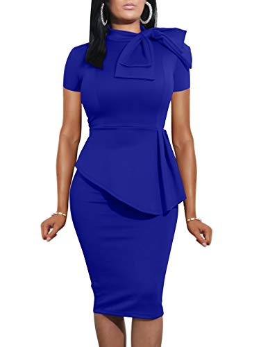 LAGSHIAN Women Fashion Peplum Bodycon Short Sleeve Bow Club Ruffle Pencil Office Party Dress Royal Blue