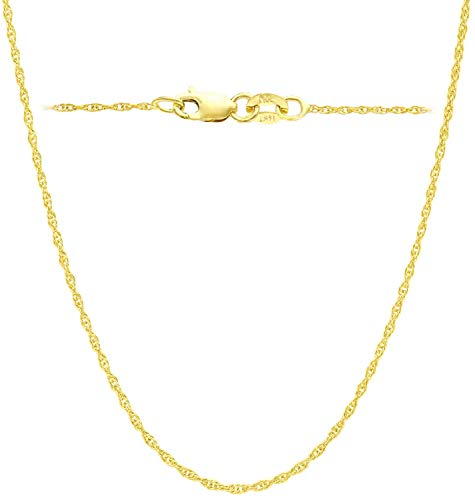 14K Yellow Solid Gold Italian Diamond Cut 1mm Rope Chain Necklace Thin Lightweight Strong (14, 16, 18, 20, 22, 24 or 30 inch) With 1