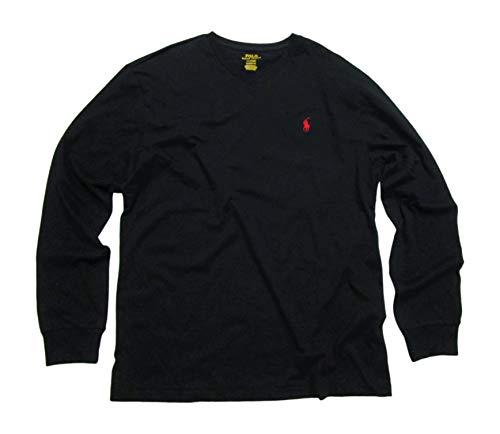 Polo Ralph Lauren Mens Long Sleeve V Neck Tshirt (Polo Black, Medium)