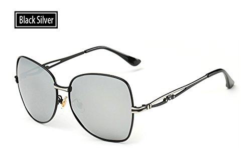 black Sombra Verano Sol polarizadas de UV400 de TL Gafas de Gafas Mujeres Hombre para Sol de Rosa Sunglasses Gafas Gafas silver Mujeres 788wPqYR