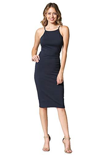 LaClef Women's Sleeveless Basic Racer Back Tank Midi Cotton Casual Halter Neck Dress (Navy Cami, S)