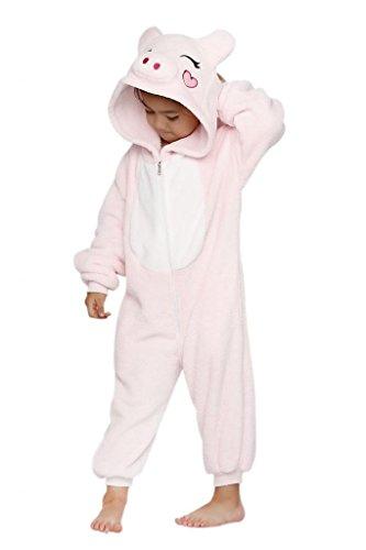 Anim-Unisex Kigurumi Pajamas Kids Costume Animal Pyjamas-pink pig-L