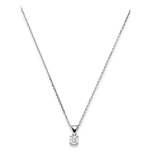 Solitaire Collier Chaîne avec pendentif avec Solitaire 0,25ct. Or Blanc 58545cm