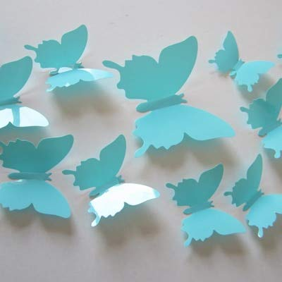 BeesClover 12pcs/Set Mirror Silver 3D Butterfly Wall Stickers Party Wedding Decor DIY Home Decorations Sky Blue
