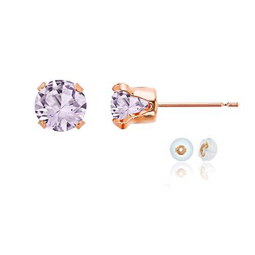 Genuine 10K Solid Rose Gold 6mm Round Natural Purple Rose De France February Birthstone Stud Earrings
