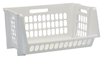 amazoncom united solutions sb0119 set of three medium stack and storage bins in white 3 perforated medium stackable bins in white to organize your life - Plastic Stackable Bins