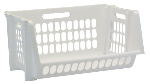 United Solutions SB0119 Set  of Three Medium Stack and Storage Bins in White-3 Perforated Medium Stackable Bins in White to Organize Your Life (Basket Stackable)