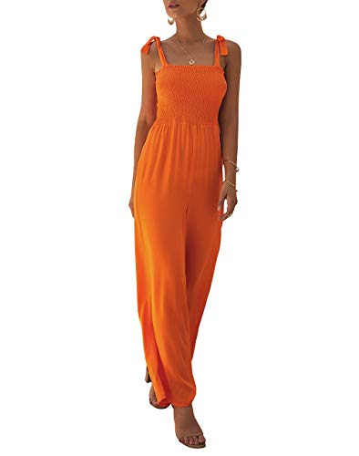- KIRUNDO Women's 2019 Summer Adjustable Spaghetti Strap Jumpsuits Sleeveless Solid Color Long Wide Leg Overalls (Medium, Orange)
