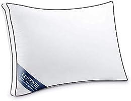 LEEPWEI 枕カバー 高級綿100% サテン織り 300本高密度生地 防ダニ 抗菌 防臭 ホテル品質 封筒式 滑らか 柔らかい ピローケース 43×63cm