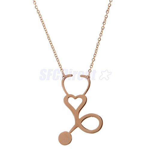 Rose Gold Fashion Men Women Medical Stethoscope Heart Love Body Chain Charm Necklace Gift by sfcdirect