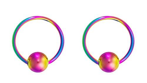 Forbidden Body Jewelry 18g 10mm Rainbow Surgical Steel Captive Bead Body Piercing Hoops (2pcs)