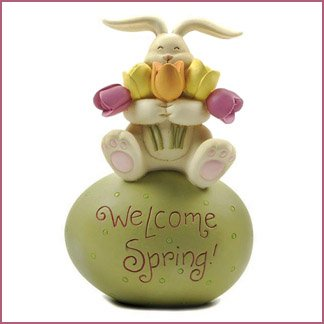 Blossom Bucket WELCOME SPRING Bunny on Egg with Tulips (Welcome Bucket)