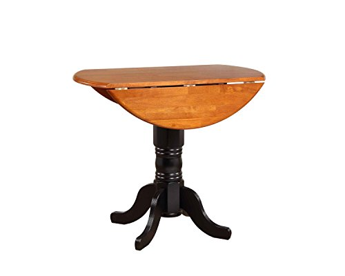 Sunset Trading Round Drop Leaf Pub Table in Antique Black with Cherry Finish Top