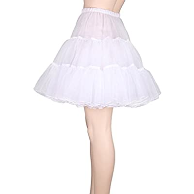 Tinksky Fancy Women Skirt Tutu Skirt Petticoat Girls Dress - Size S-M (White)