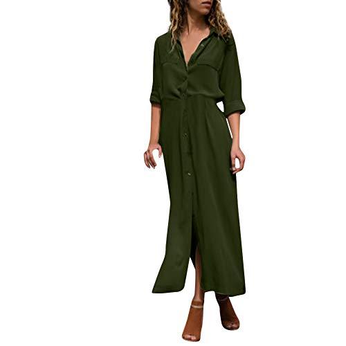 Femmes Robe, Femmes Bouton V-cou Fendu L'ourlet À Manches Longues Bal Soirée Balancer Poches Robe Verte 2018