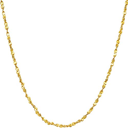 Lifetime Jewelry Gold Chain [ 1.6mm Twisted Nugget Pendant Necklace ] 20X More 24k Plating Than Other Fashion Necklaces for Women & Men - Cute & Dainty with Free Lifetime Replacement Guarantee (20.0)
