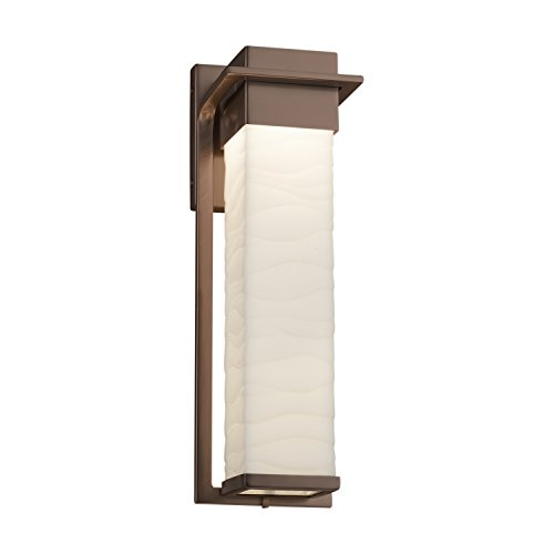 Porcelina - Pacific Large LED Outdoor Wall Sconce - Faux Porcelain Shade with Waves Design - Dark Bronze Finish
