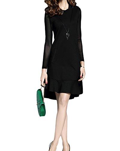 Negro Mujer dobladillo Para Mangas redondo volantes de Vestidos Color Cuello largas sólido SB5qTPxO