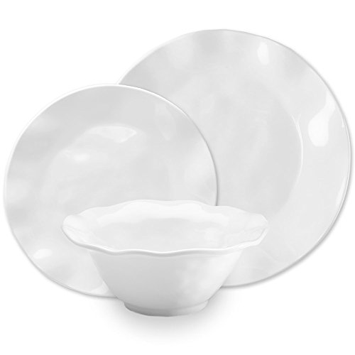 Q Squared Ruffle Round 12-Piece Professional Grade, BPA-Free, Shatterproof, Melamine Dinnerware Set, Many Collection Options