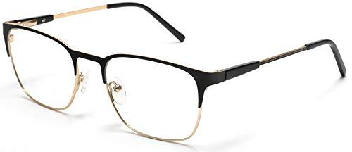 Tango Optics Square Metal Eyeglasses Frame Luxe RX Stainless Steel Katherine Johnson Black Gold Ready For Prescription ()