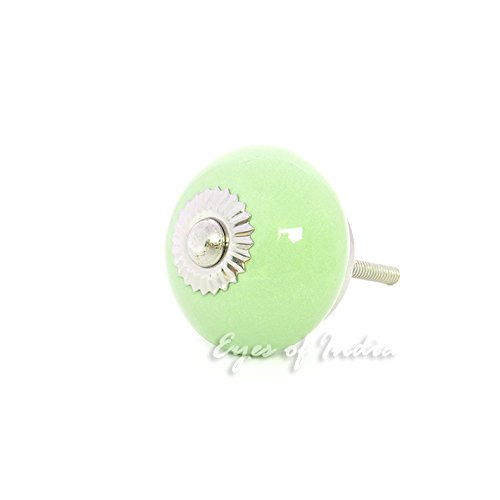 Eyes of India - Green Ceramic Cabinet Dresser Cupboard Door Knobs Pulls Decorative Shabby Chic Colorful Boho Bohemian