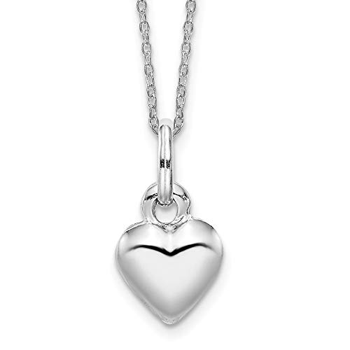 Puffed Heart Plated (Sterling Silver Rhodium Plated Puffed Heart Pendant)