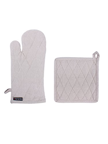 Set of Potholder & Oven Mitt, Chambray Beige, 100% Cotton, Heat Resistant, Essential for All Bakers ()