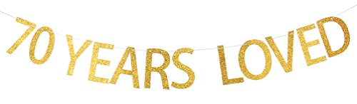 INNORU® 70 Years Loved Banner Gold Glitter Sign - 70th Birthday Party (70th Decorations)