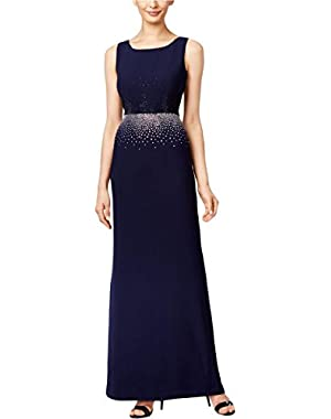 Calvin Klein Womens Studded Sleeveless Evening Dress