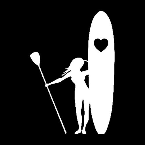 Scrapbooking Stickers & Sticker Machines, Vinyl Decal Sticker, 1PC 11.5cmx16.7cm Girl Stand Up Paddle Boarding Heart Love Stickers Car Decal Stickers - White]()