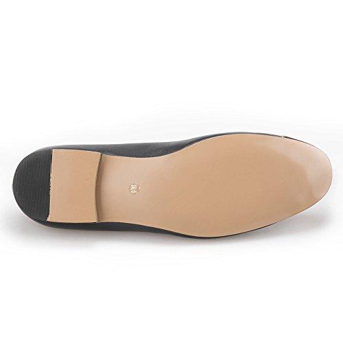 Hi & Hann Heren Glanzende Gesp En Gouden Metalen Neus Lederen Loafer Schoenen Roken Slipper Zwart