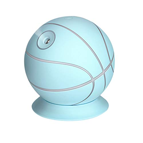 Basketball Shaped Air Humidifier, Witspace Mini Essential Oil Diffuser for Home/Car/ Office Desktop- Cute and Creative Night Light-180° Rotary (Blue)