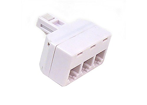 Three Way Phone Adapter (Modular 3-Way Line Wall Splitter Adapter RJ11 Ivory Phone Three Way Triplex Divider RJ-11 Plug Jack Cord Splitter Audio Data Signal Cable Triple Connector Outlet Snap-In Component)