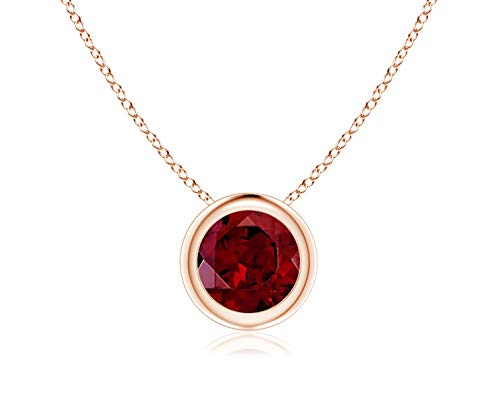Bezel Set Garnet Pendant Necklace in 14k Yellow Gold (7mm), 18