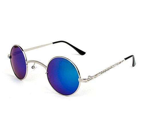 polarizado Azul puente Plata Retro de de sol personalidad metal marco redondo Steampunk hippy no gafas caja pequeña Reflectante qqwtaRZ