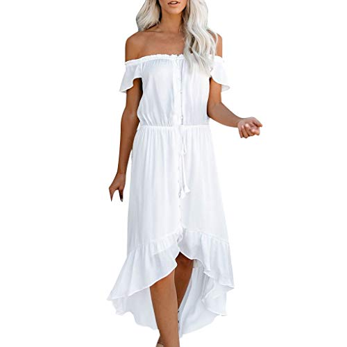 WILLBE Fashion Women Off Shoulder Lace Up Dress Flowing Loose Dress Women's Solid Color Pleated Buttons Dresses White