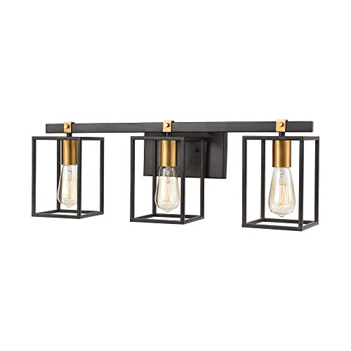 Elk Lighting 46632/3 Vanity Light, Matte Black, Brushed Brass