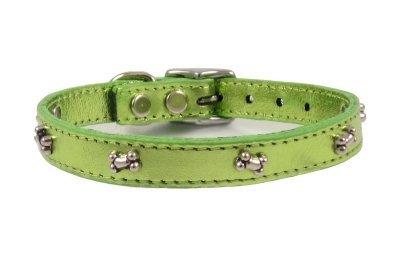 Bones Leather Dog Collar Furry (Metallic Lime Green, 12 )