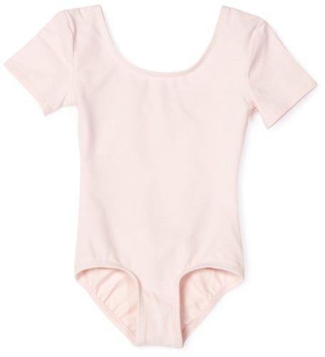 Danskin Little Girls' Short Sleeve Leotard, Petal pink, Small (4/6)