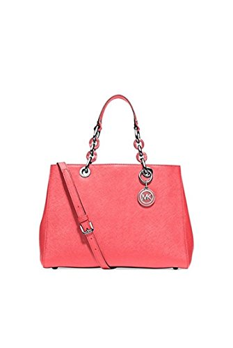 Michael Kors Cynthia Medium Satchel Coral/silver