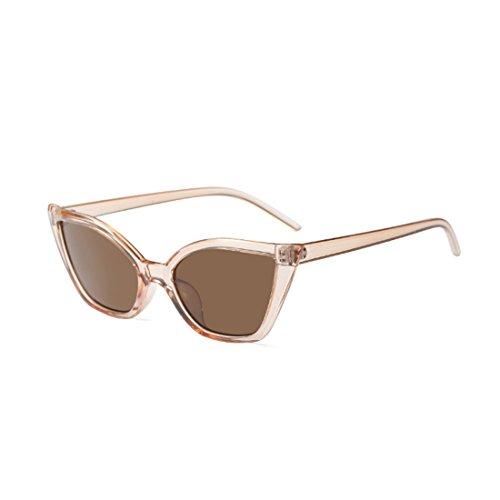retro Marrón gafas de pequeñas marco Moda Vintage ojo Huicai de Moda gafas gato de sol resina q714Z5w
