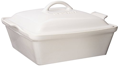 Le Creuset Heritage Stoneware 2-1/2-Quart Covered Square Casserole, White (Casserole Covered Bakeware)
